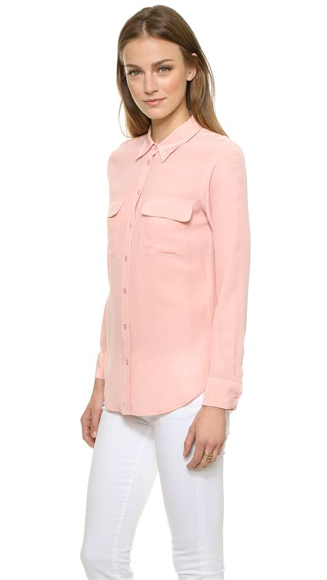 pink blouses equipment slim signature blouse powder pink in pink lyst