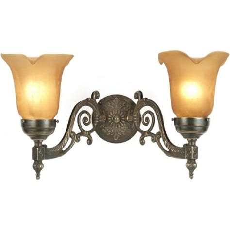 victorian style aged brass double wall light with glass shades