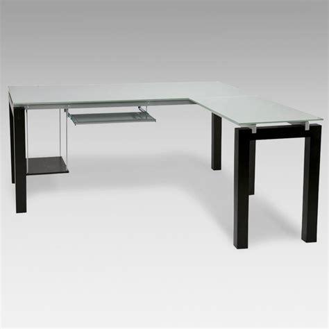 l shaped glass desk style baretta glass l shaped computer desk with
