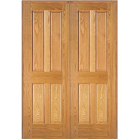 home depot interior doors wood mmi door 61 5 in x 81 75 in unfinished red oak 4 panel double interior door z022663ba the