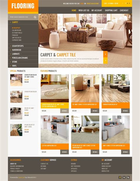 flooring websites modern flooring opencart template 40721