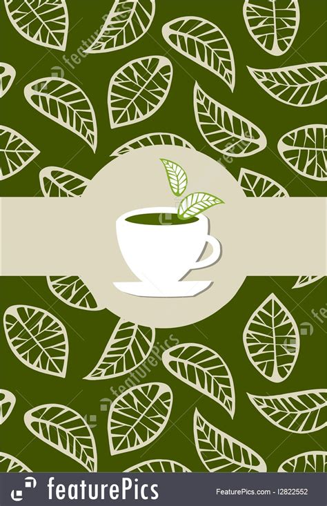 templates green tea package label stock illustration