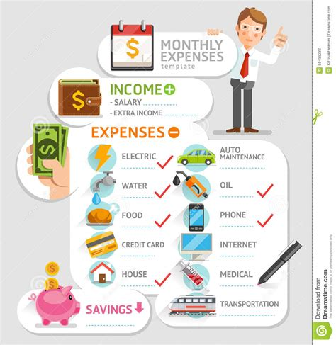 monthly expenses monthly expenses template stock vector image 55495282
