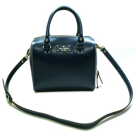 kate spade alessa wellesley french navy satchel handbag