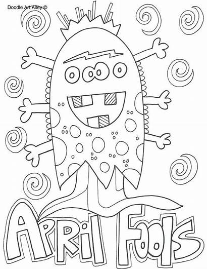 Coloring April Pages Fools Doodle Alley Flowers