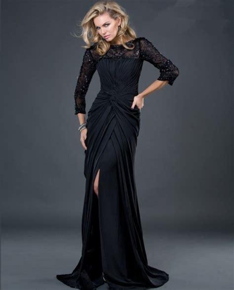 formal sheath long black jersey evening dress  beaded