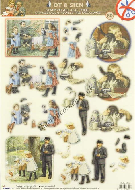 victorian children  cats duck die cut  decoupage sheet