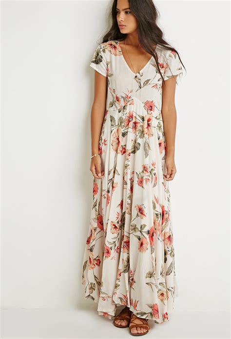 Forever 21 Floral Print V-cut Midi Dress | Lyst