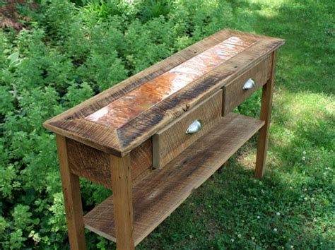 rustic wood entry table copper sofa table copper top table rustic entry table