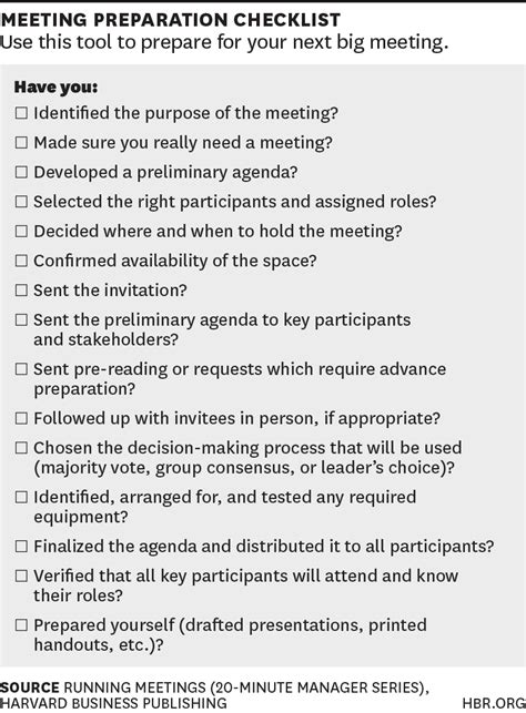 a checklist for planning your next big meeting chart