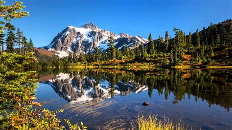 Mt. Shuksan Reflecting On Picture Lake In Mt. Baker