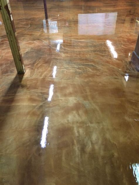 lawn equipmnet store retail metallic epoxy floor brown