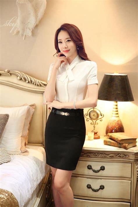 White Skirt Suits Women Blouse Skirt Set Summer Office Lady Blouse Skirt Suits Work Wear Suits