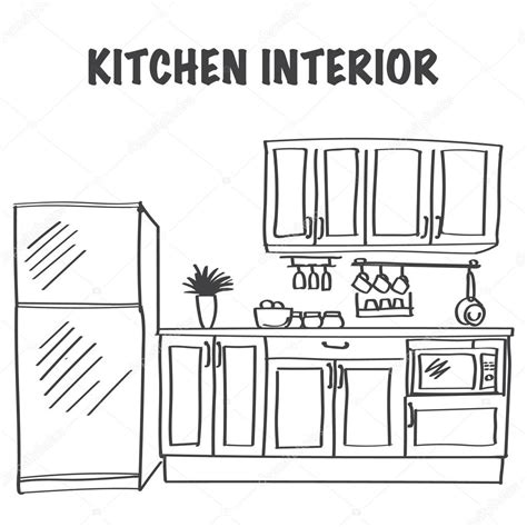 sketch  modern kitchen interior stock vector  julija