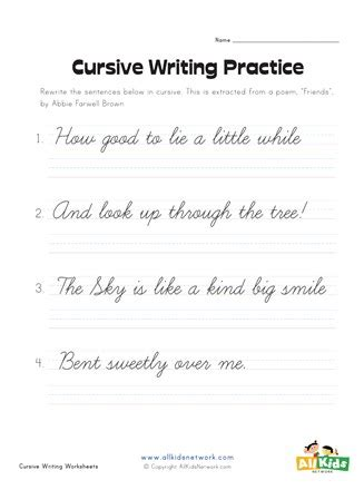grade cursive practice worksheets