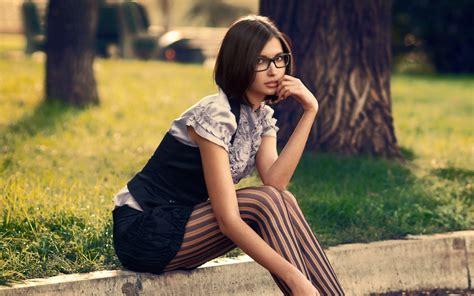 brunette glasses women striped leggings wallpapers hd