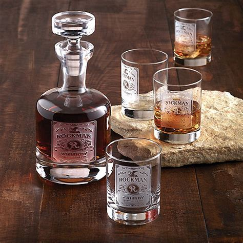 uniquie scotch christmas ideas personalized etched whiskey label decanter and glasses set wine enthusiast