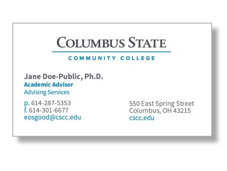 business cards columbus state community college