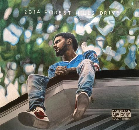 J Cole Forest Hills Drive Cover by J Cole 2014 Forest Hills Drive Drawing Drawing By