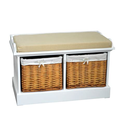Bench Seat With Basket Storage by Foxhunter Wood Storage Bench Seat With 2 3 Wicker Basket