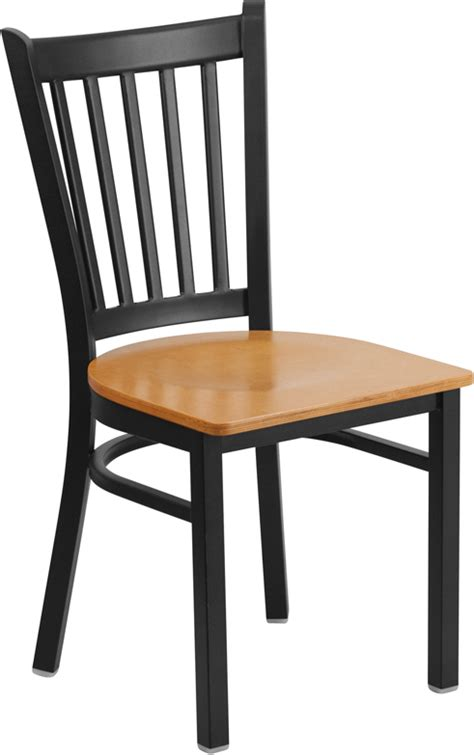 black vertical back metal restaurant chair with