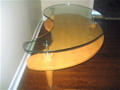 Glass Top Coffee Table Solid Wood Kidney Shaped High End