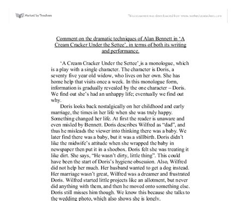 alan cracker the settee monologue comment on the dramatic techniques of alan in a