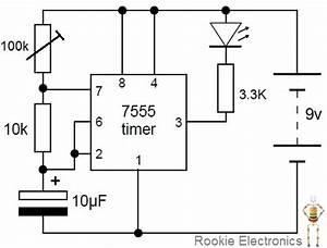flashing led using 555 timer rookie electronics With 555 flasher circuit