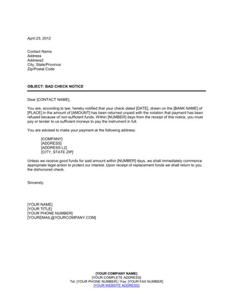 notice  check nsf template sample form biztreecom