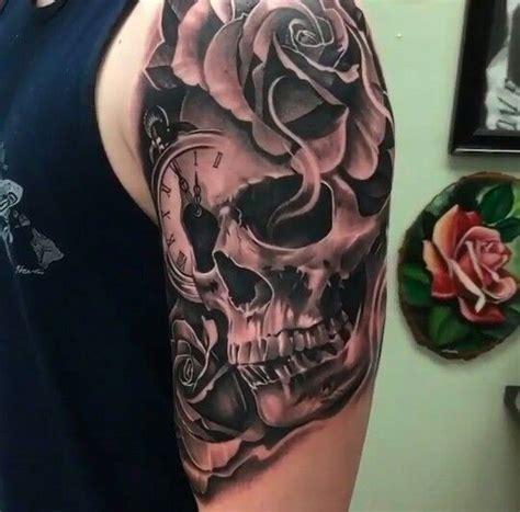 foda rose skull clock tattoos arm tattoo mark tattoo tattoo designs