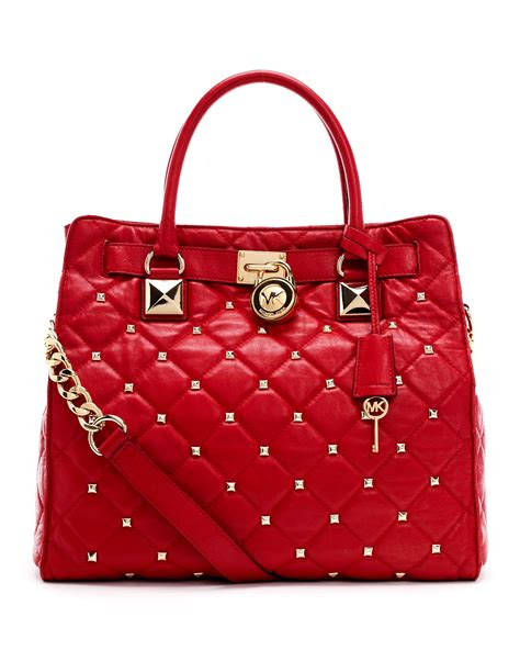 lyst michael michael kors large hamilton studded quilted tote bag  red