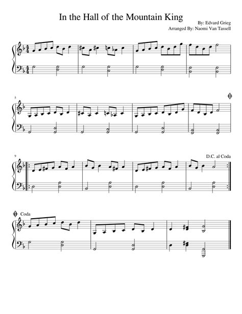 .grieg easy piano letter notes sheet music for beginners, suitable to play on piano, keyboard, flute, guitar, cello, violin, clarinet, trumpet, saxophone, viola and any other similar instruments you need easy good to know. In the Hall of the Mountain King Sheet music for Piano | Download free in PDF or MIDI ...