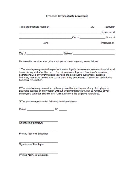 employee confidentiality agreement business forms confidentiality agreement form template business