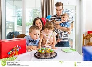 Family Having Birthday Celebration At Home Stock Image ...