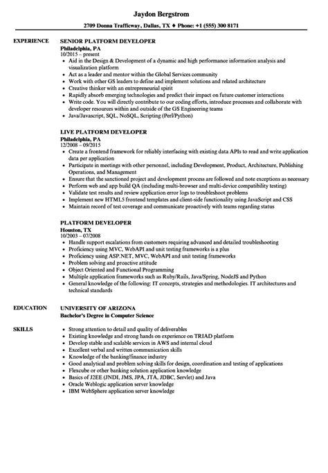 Platform Developer Resume Samples | Velvet Jobs