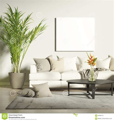contemporary living room  mock  poster stock photo