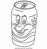 Soda Coloring Drink Vector Happy Cartoon sketch template
