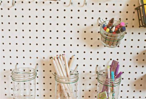 mason jar pegboard peg board pegboard craft room craft
