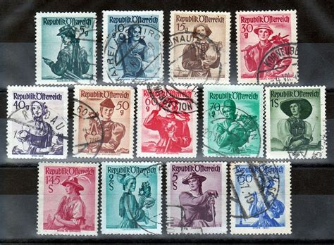 Austria Stamps 1948 Provincial Women National Costumes 13