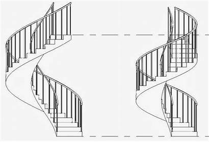 Spiral Stairs Staircase Drawing Curved Revit Revitcat