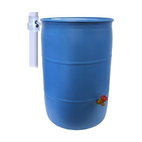 emsco  gal paintable blue plastic drum diy rain barrel