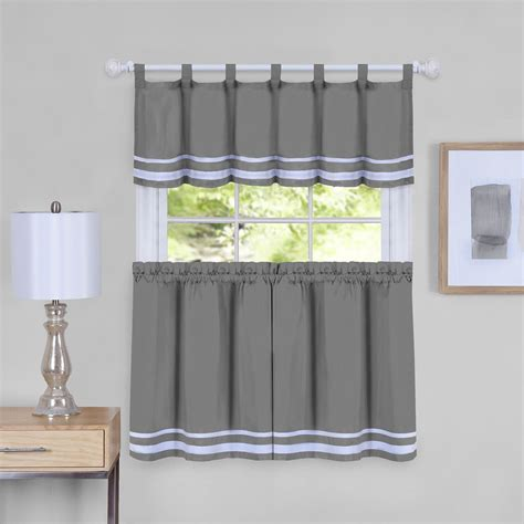 dakota  kitchen curtains tier valance set grey