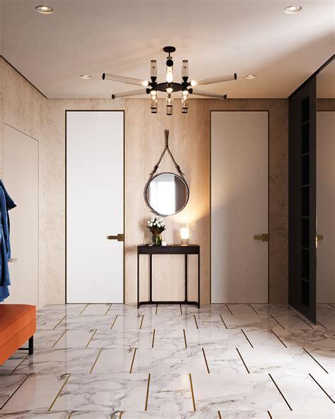 Restful Interior With Blue & Brass Accents Running Through