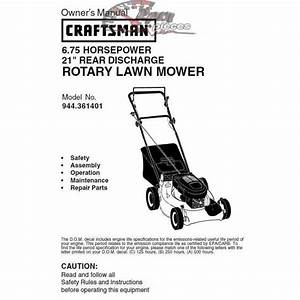 Craftsman Lawn Mower Parts Manual 944 361401