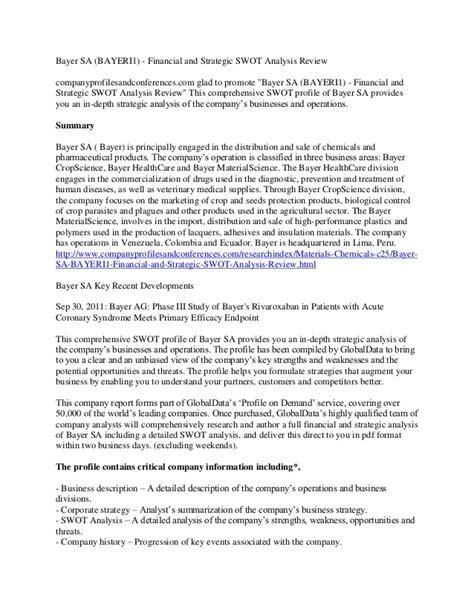 Bayer Sa (bayeri1)  Financial And Strategic Swot Analysis