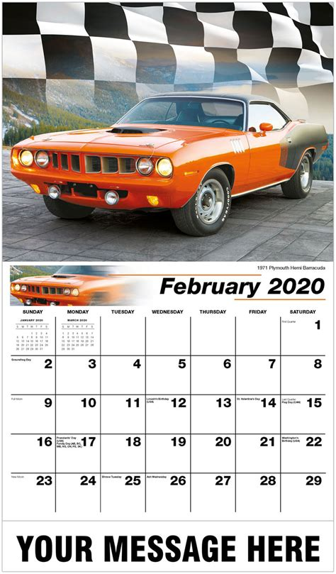 hot rods muscle cars calendar business promo calendar