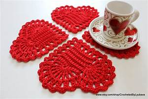 Christmas Gifts Crochet Coasters Set of 4 Valentine's Day
