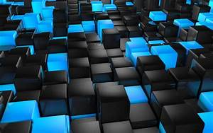 3D view, abstract, blue, black, cubes, 3D :: Wallpapers