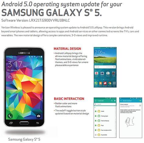 verizon android update verizon galaxy s5 gets android 5 0 lollipop update