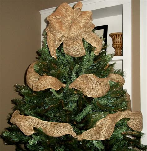 decorating tree with burlap ribbon burlap tree topper bow with garland by